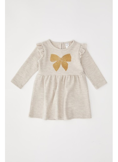 DeFacto Kız Bebek Fiyonk Baskılı Selanik Kumaş Elbise Bej